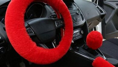 CAR AUTO Steering Wheel Cover - Short Hair / Red