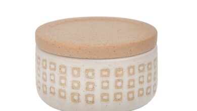 """CERAMIC 5""""  COVERED DOTTED JAR, SAND"""