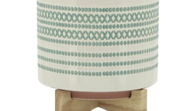 """CERAMIC 8"""" PLANTER ON STAND W/ DOTS, TURQUOISE"""