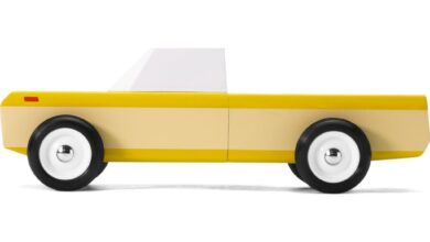 Candylab Longhorn Pick Up Truck Wooden Toy | Orange Yellow - Default Title
