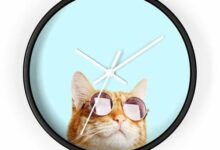 Cat is Always Right Modern Wall Clock - 10 in / Black / White