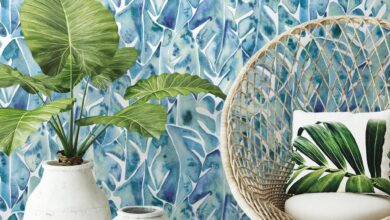 CatCoq Philodendron Peel and Stick Wallpaper - Large Sample / Blue