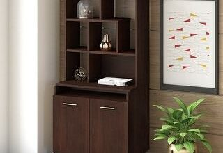 Centura Accent Storage Cabinet with Hutch from Office by kathy ireland (Walnut Finish), Brown