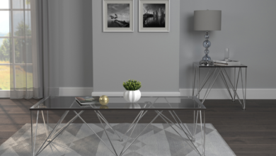 Chalet Rectangle Coffee Table With Glass Top Chrome And Grey