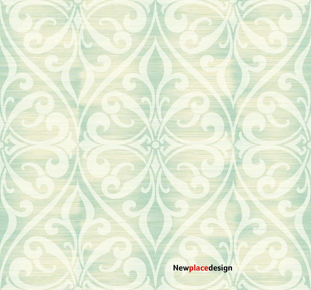 Chambon Ogee Wallpaper in Green from the Lugano Collection by Seabrook Wallcoverings