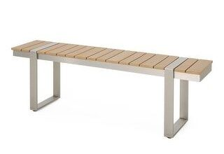 Cibola Outdoor Aluminum Dining Bench by Christopher Knight Home (Silver + Natural), Patio Dining Chairs