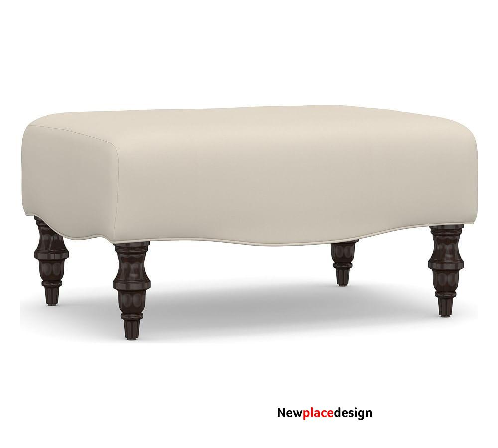 Clara Upholstered Ottoman, Polyester Wrapped Cushions, Twill Cream