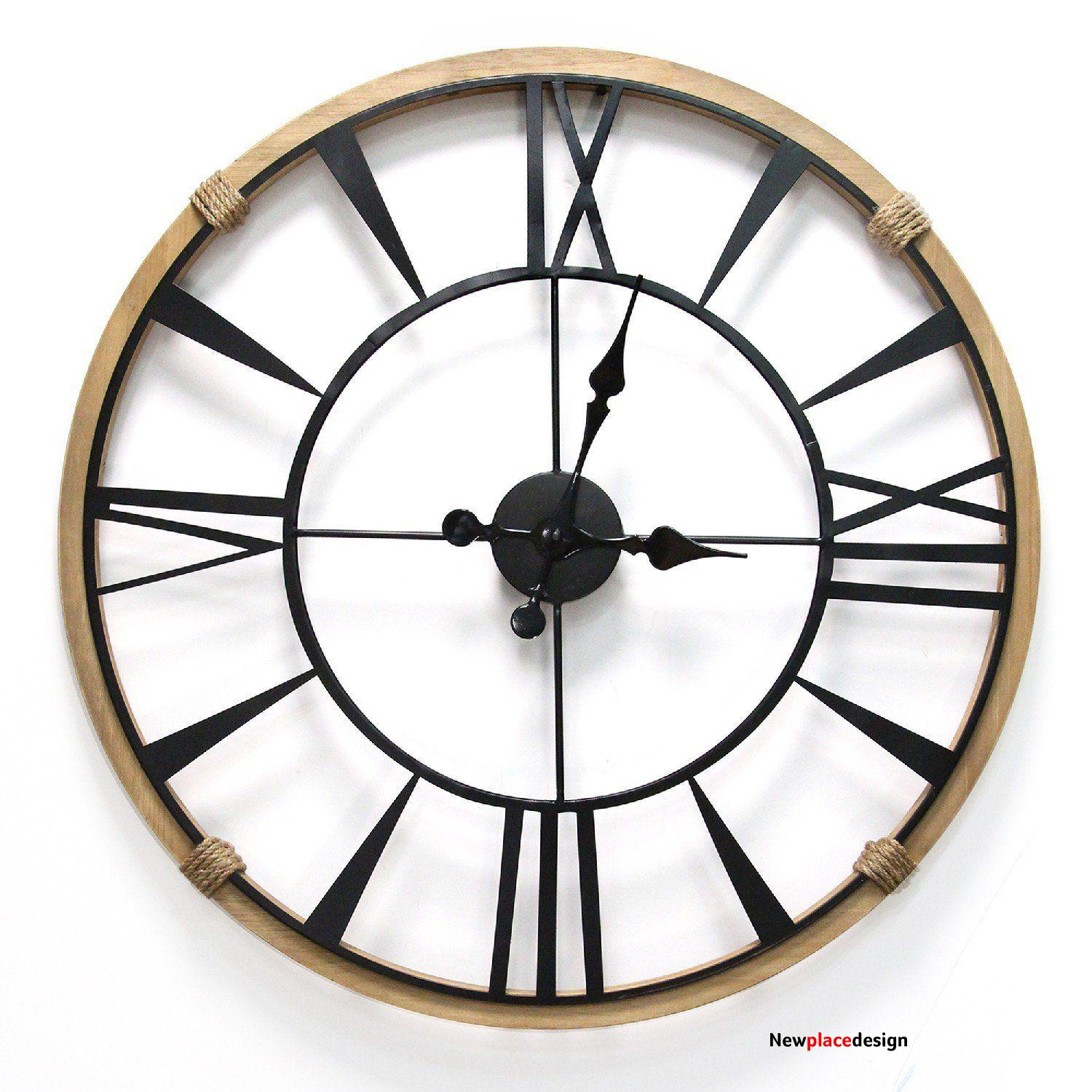 Clock - Round - Metal and Wood
