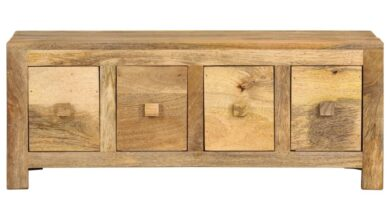 Coffee Table with 4 Drawers 90x50x35 cm Solid Mango Wood