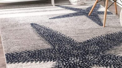 Contemporary Starfishes Stripes Blue Gray Soft Area Rugs - 8' x 10'