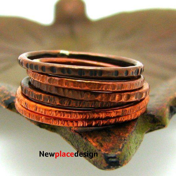 Copper Stacking Ring, Hash Mark Texture - Antiqued / 5