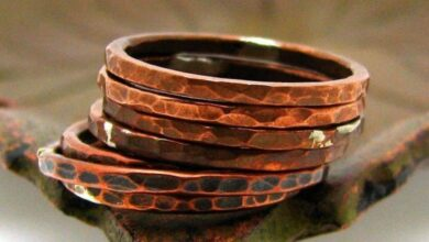 Copper Stacking Ring, Tree Bark Texture - Antiqued / 8
