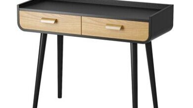 "Corrigan Studio® Ajnag 39"" Console Table, Wood/Solid Wood in Black, Size 31""H X 39""W X 16""D 