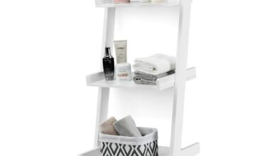 Costway 3 Tier Leaning Wall Ladder Book Shelf Bookcase Storage Rack - White