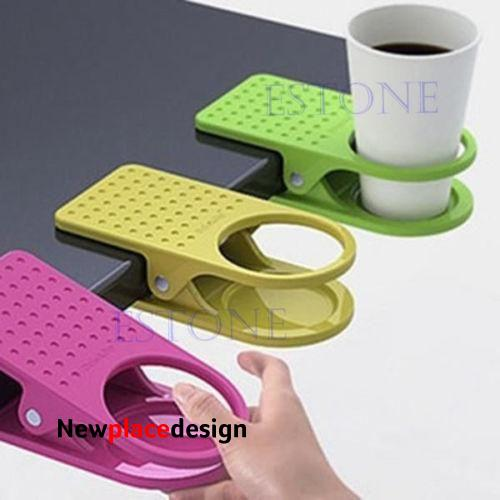 Cup Holder Desk Clips Plastic Use Home Office Desk Table