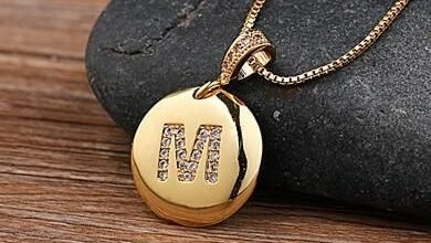 Custom Letter Necklace Pendant - M