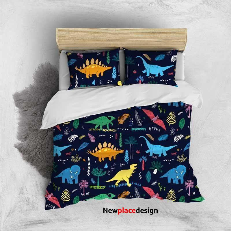 Custom Personalised 3 Pieces Duvet Cover Set - Cute Cartoon Dinosaurs Family Pattern Comforter Cover - King