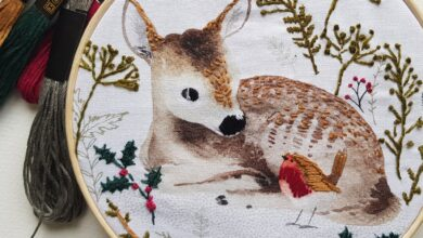 Cute winter deer and robin Embroidery Kit or Panel - Panel Only