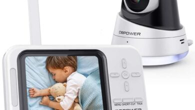 DBPOWER Video Baby Monitor, 3.5 LCD Baby Monitor with Camera and Audio Night Vision - White