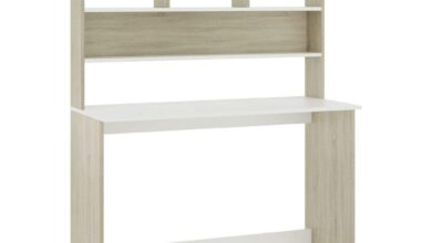 """Desk with Shelves White and Sonoma Oak 43.3""""x17.7""""x61.8"""" Chipboard"""