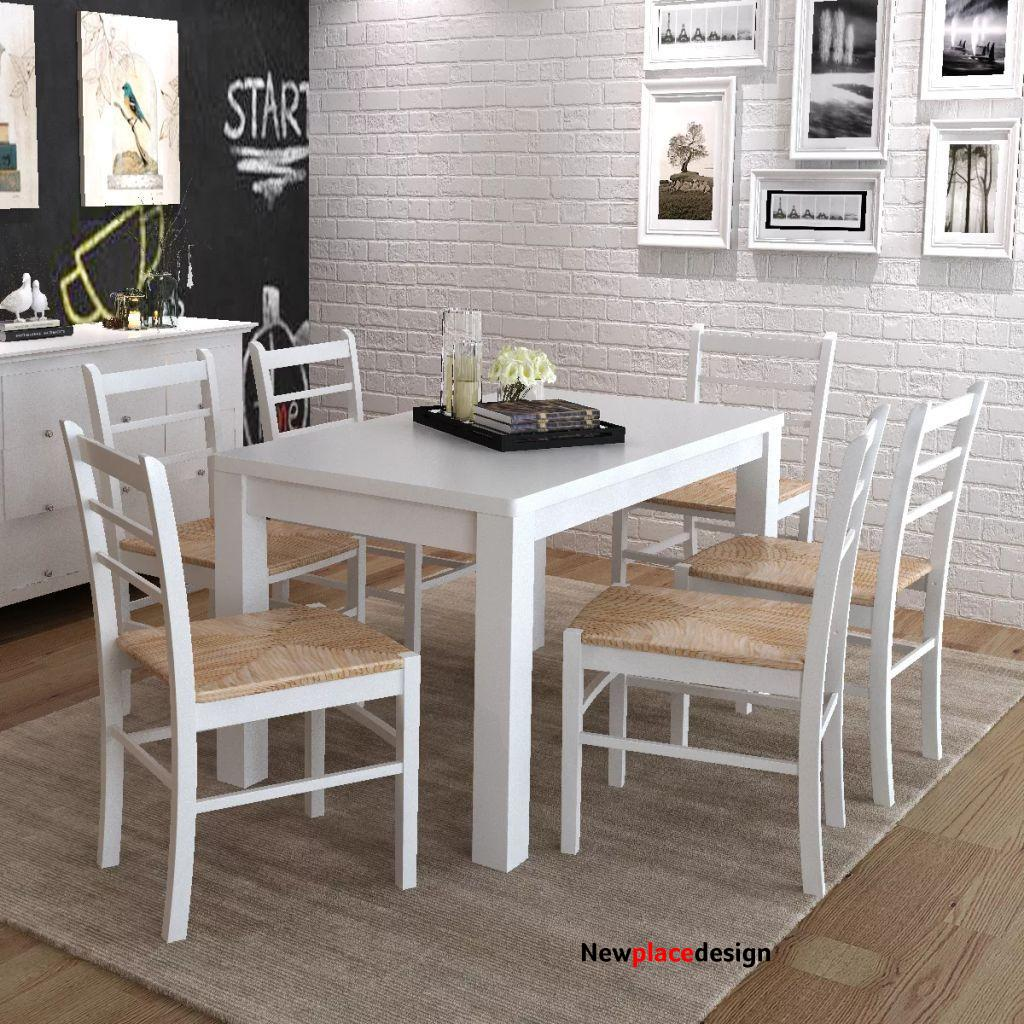Dining Chairs 6 piece White Pinewood and Rush