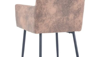 Dining Chairs with Armrests 2 piece Brown Faux Suede Leather
