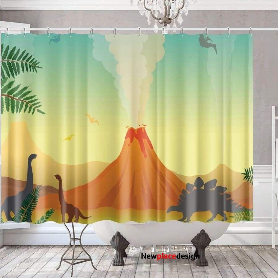 Dinosaurs & Volcanoes Shower Curtain - XL (96x72in)