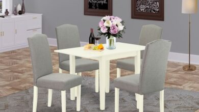 East West Furniture NDEN5-LWH-06 Dinette Set 5 Pcs - Four Kitchen Chairs and a Dinner Table - Linen White Finish Hardwood - Shitake Color Linen Fabric