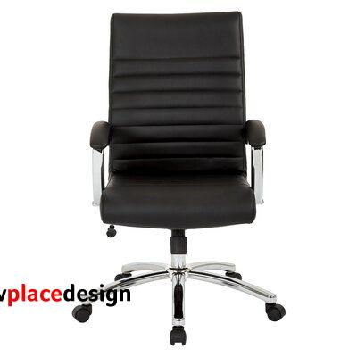 """Ebern Designs Frizzleburg Conference Chair, Faux Leather/Upholstered/Metal in Black, Size 26.75"""" L x 23"""" W 