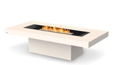 EcoSmart Fire Gin 90 Chat Bioethanol Fire Pit Table - Bone / Indoor Stainless Steel / Yes