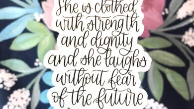 Elyse Breanne Design - She is Clothed Verse Sticker 4x3in.