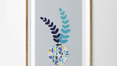 Eucalyptus Stem and Leaves in Terrazzo Blue Vase - 8 x 10 inches