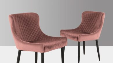 Eve | Velvet Set of 2 Dining Chairs in Blush Pink