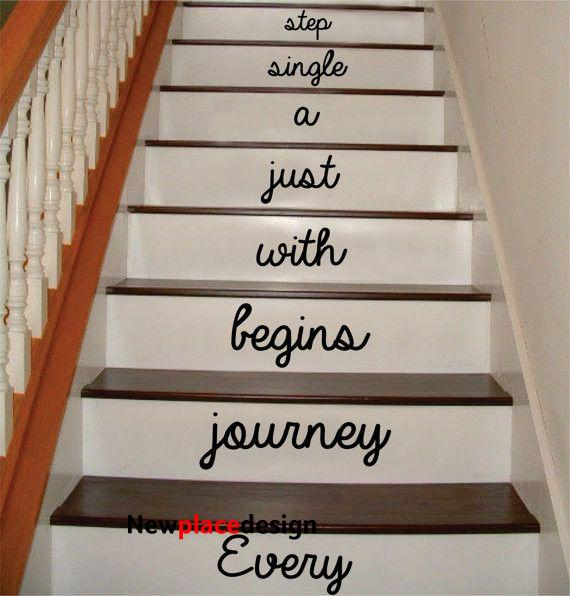 Every Journey Stairs Version 2 Decor Decal Sticker Wall Vinyl Art - brown