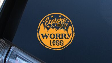 Explore More, Worry Less Decal - 5 - Bright Yellow / Glossy