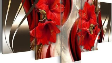 Flower Lily - Canvas Wall Art Painting - Small - 29 X 13 / Frame