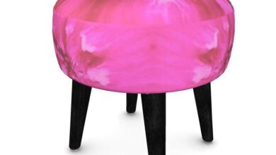 Footstool, Round Pink with Black Legs - Round / Natural
