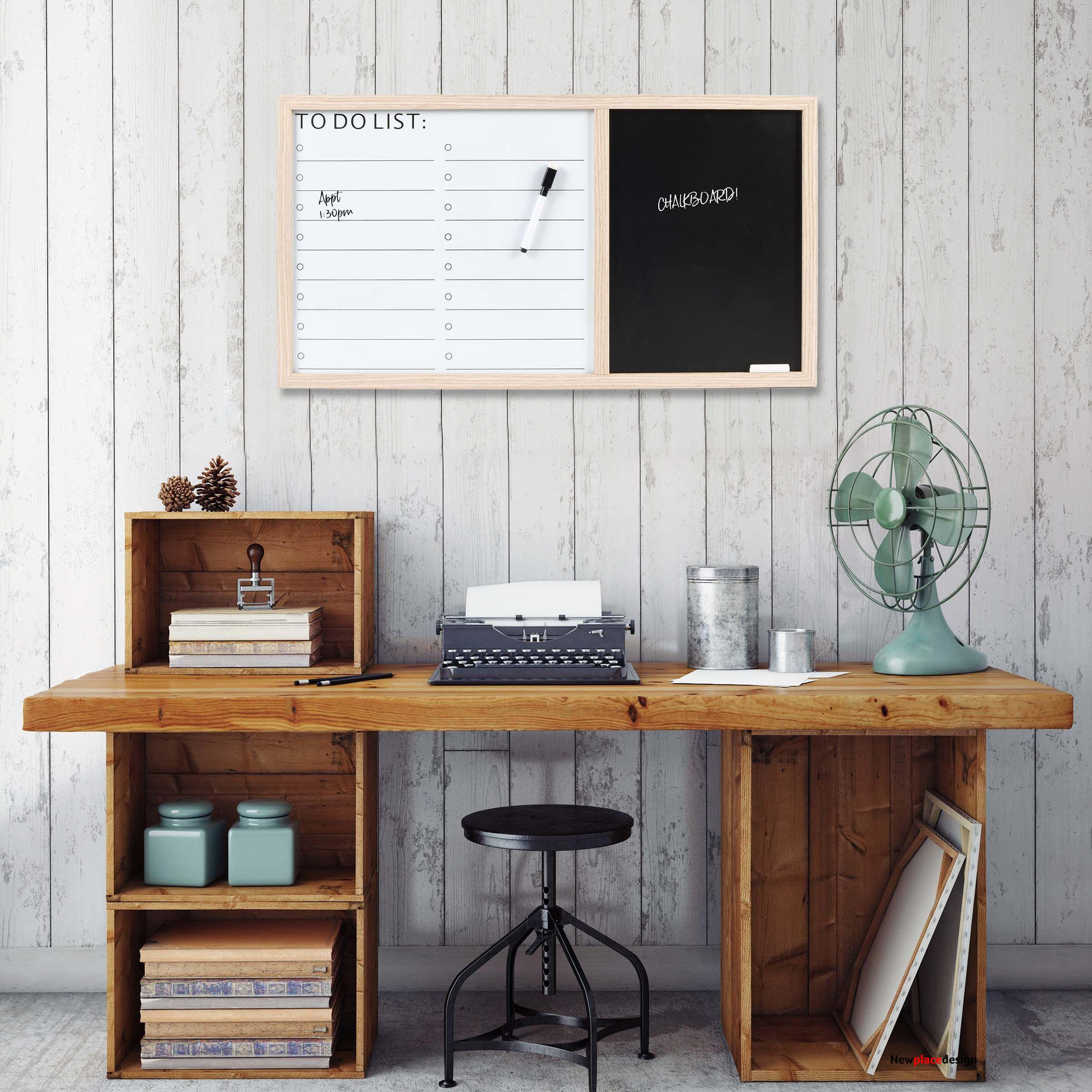Framed Wall Mounted 26 x 14-inch Dry Erase To-Do List & Chalkboard, Tan