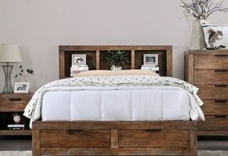 Furniture of America Werr Rustic Oak Solid Wood Bookcase Bed with USB (Queen), Brown
