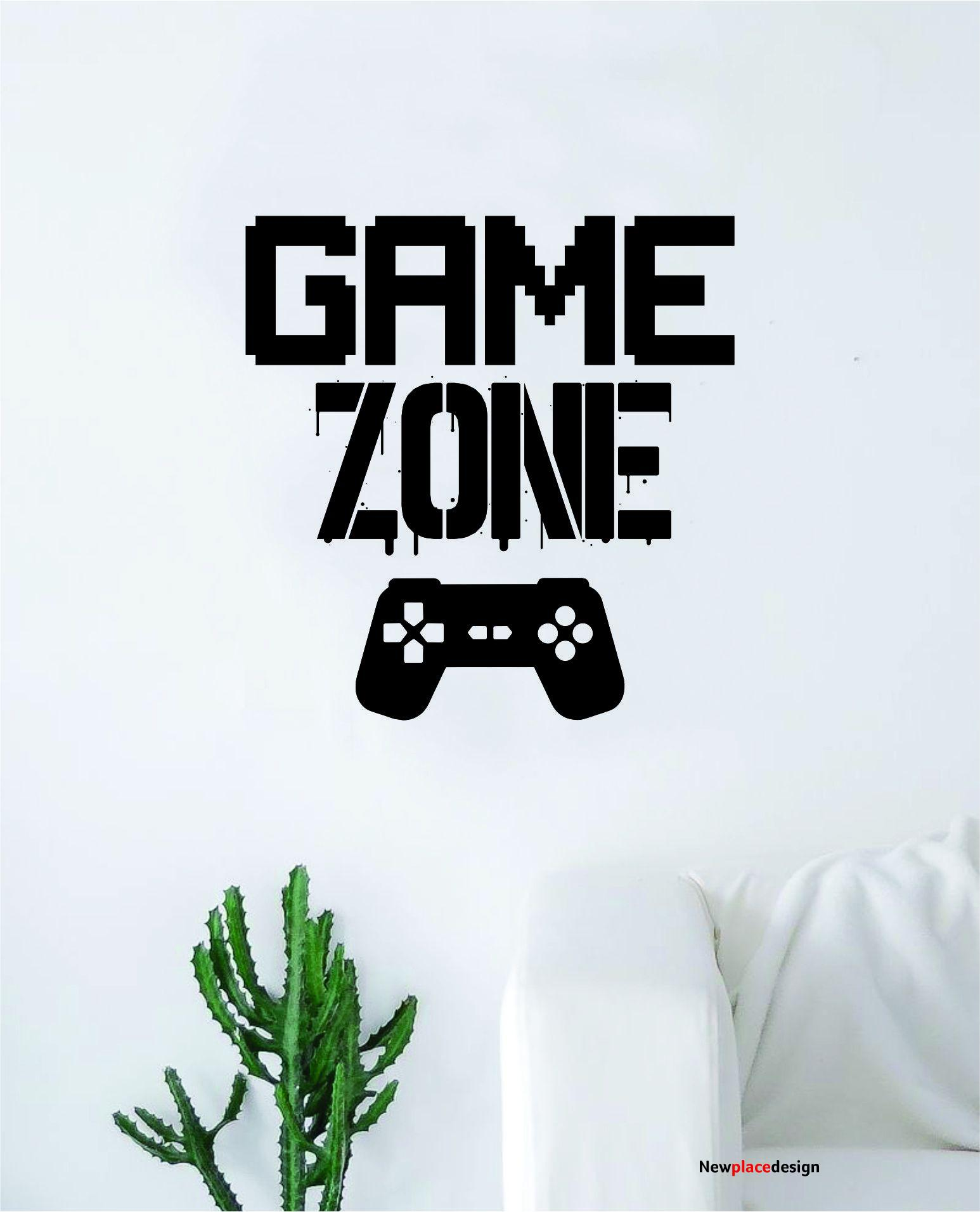 Game Zone V2 Wall Decal Quote Home Room Decor Decoration Art Vinyl Sticker Funny Gamer Gaming Nerd Geek Teen Video Kids - saphire blue