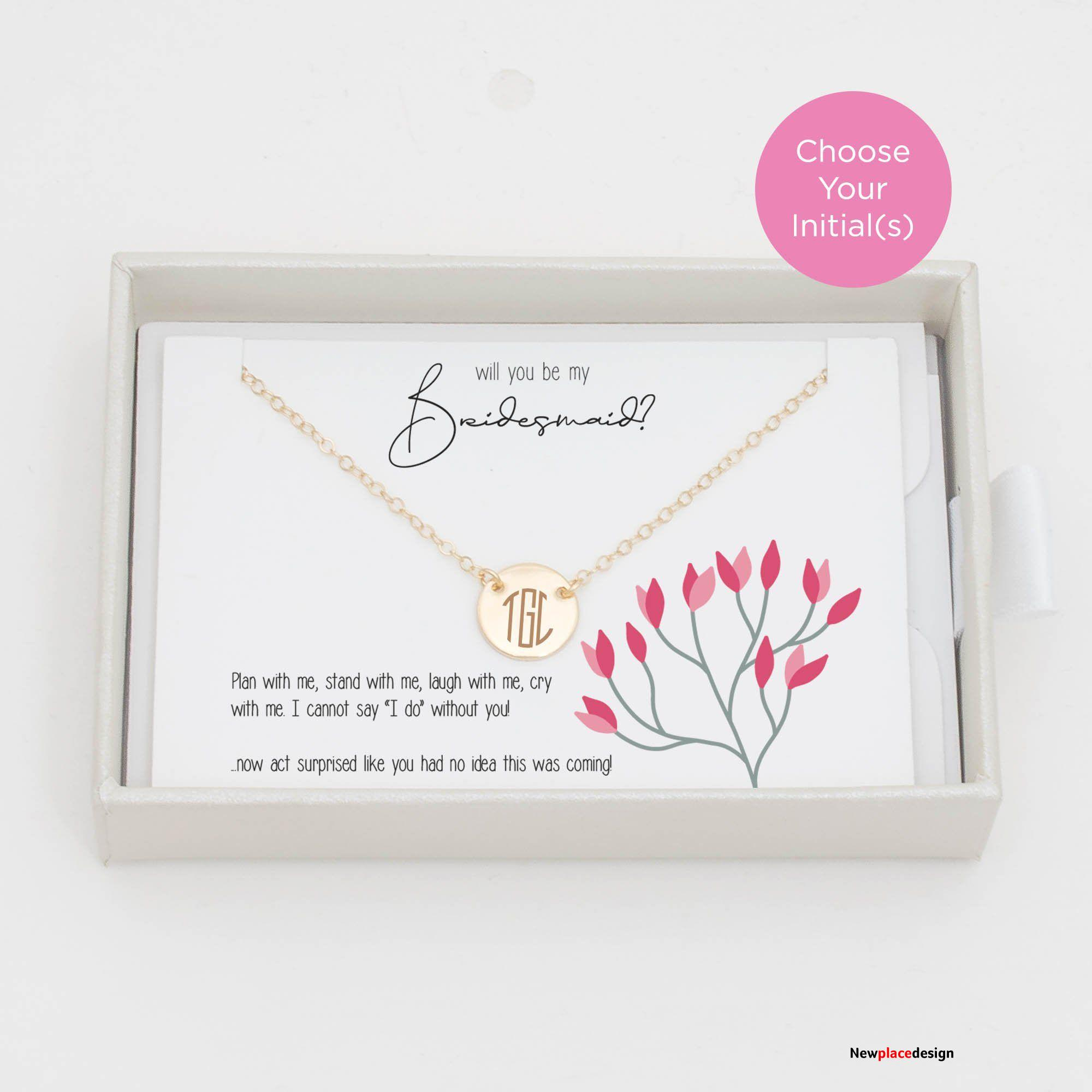 Gift for Bridesmaid Circle Necklace - Small (11mm) / Gold Fill / Single Sided