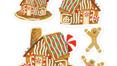 Gingerbread House - Medium Bubble Stickers
