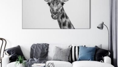 Giraffe Wall Art, Black And White Giraffe, Giraffe Print, Black and White Animals, Safari Nursery De