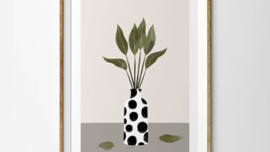 Gloss Green Leaves in Monochrome Dalmatian Vase - 4 x 6 inches