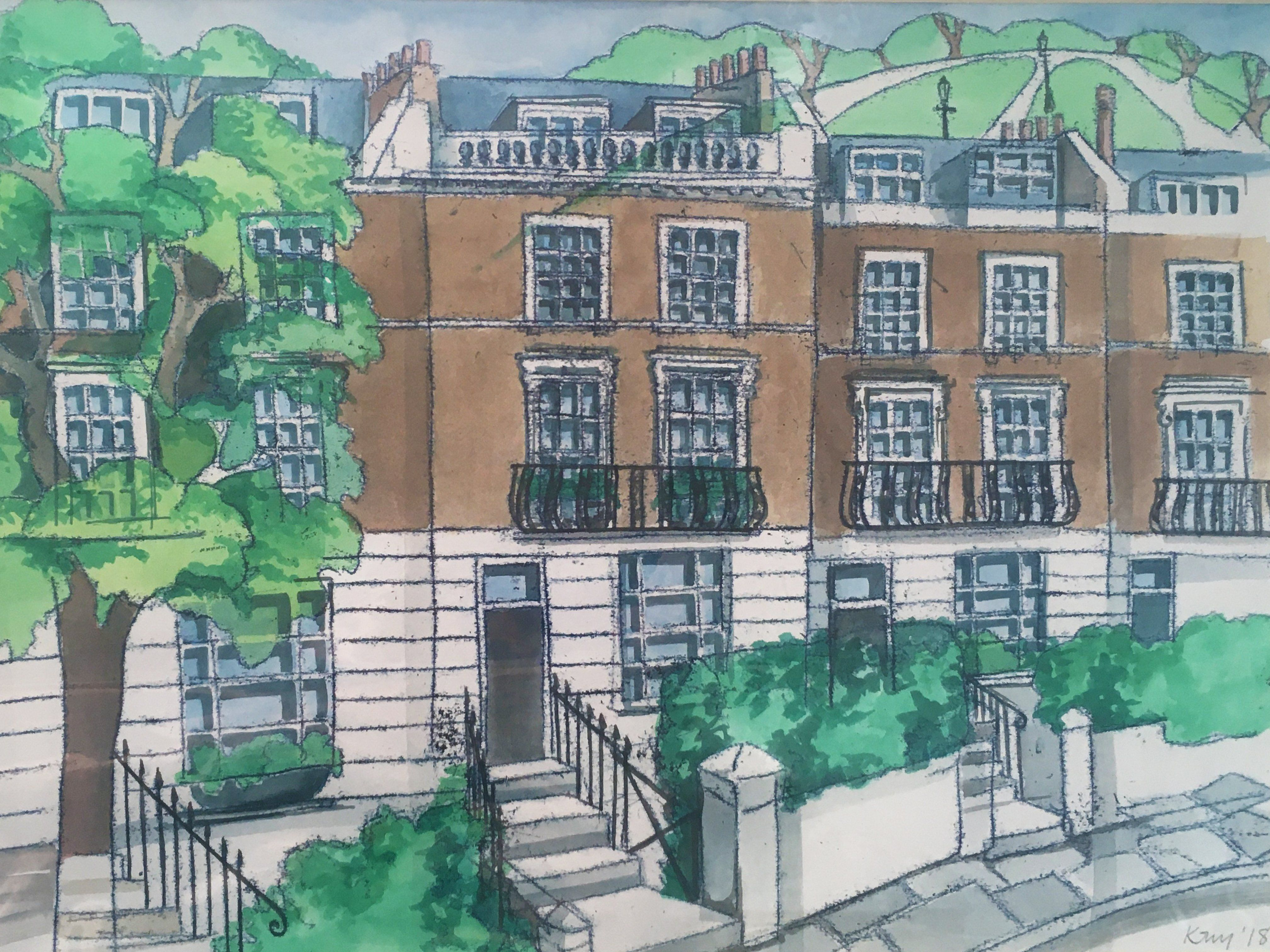 Gloucester Avenue and View of Primrose Hill Monotype Print