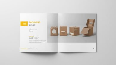 Graphic Design Portfolio Template in Brochure Templates on Yellow Images Creative Store