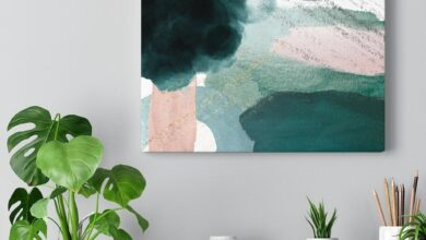 Green Abstract Canvas Wall Art - 16″ × 12″ / Premium Gallery Wraps (1.25″)