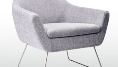 Grey accent chair office decor - Office Chairs - Elong retro mode grey fabric accent chair