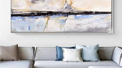 Hand Painted Abstract art  Large White Blue Canvas Painting Modern Posters Wall Art Pictures For Living Room Decor bedroom - 60x120cm / No frame Not prints
