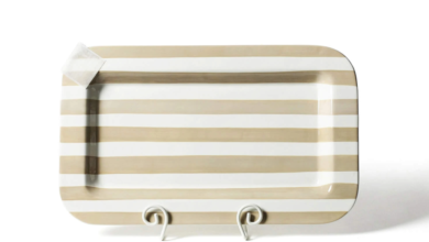 Happy Everything Mini Rectangle Platters - Neutral Stripe